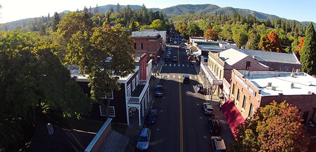 Arial view of Jacksonville, Oregon