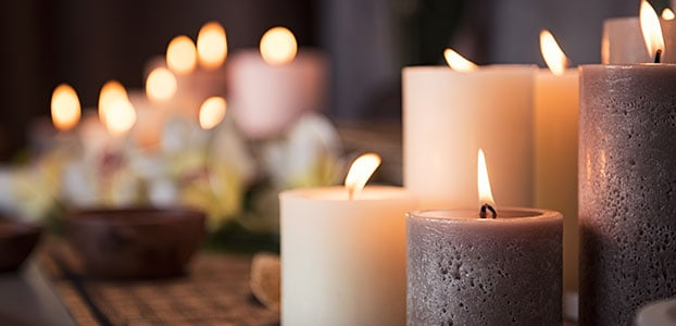 Candles lit in a spa